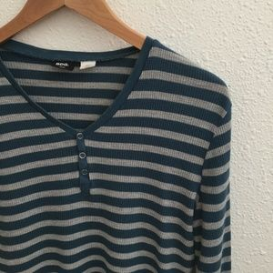 Urban Outfitters Tops - Urban Outfitters BDG Striped Teal/Grey Thermal S